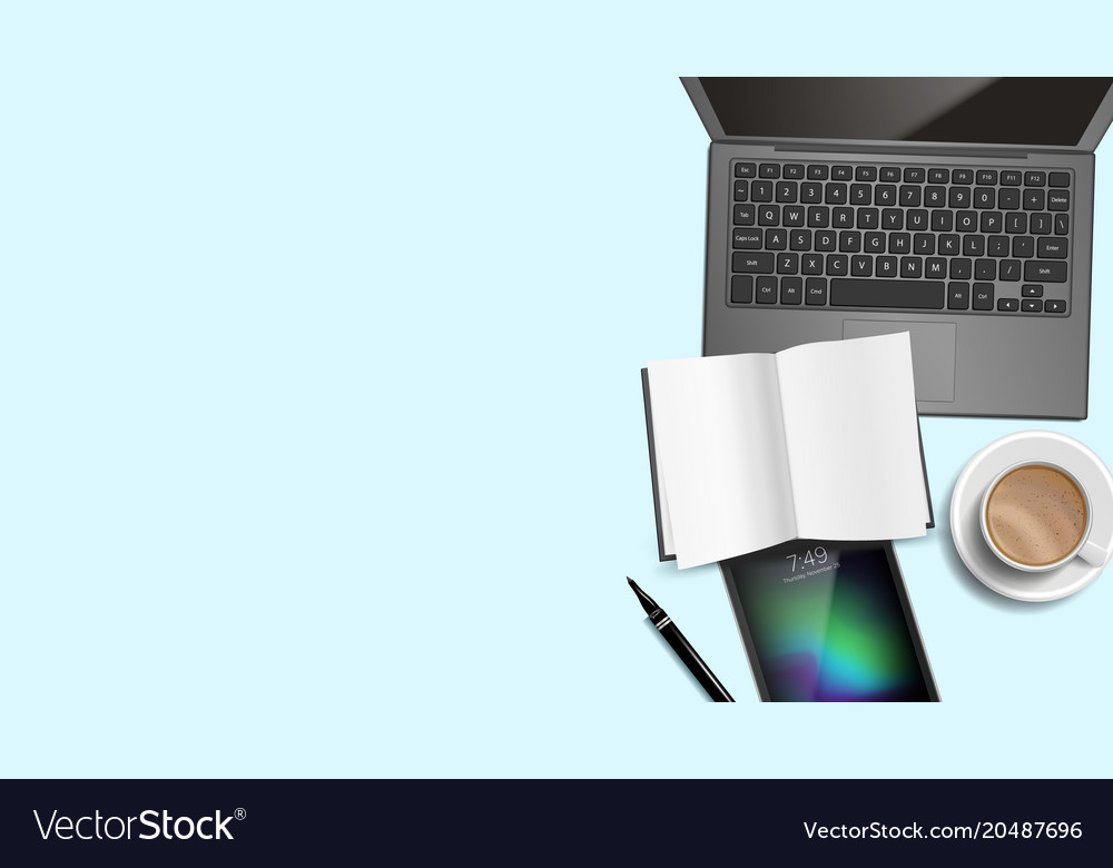 Top View Office Desk Background Working