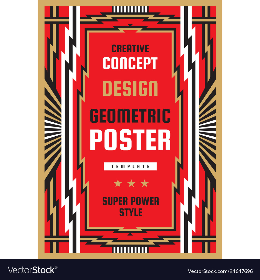 Vertical art deco poster template in heavy power