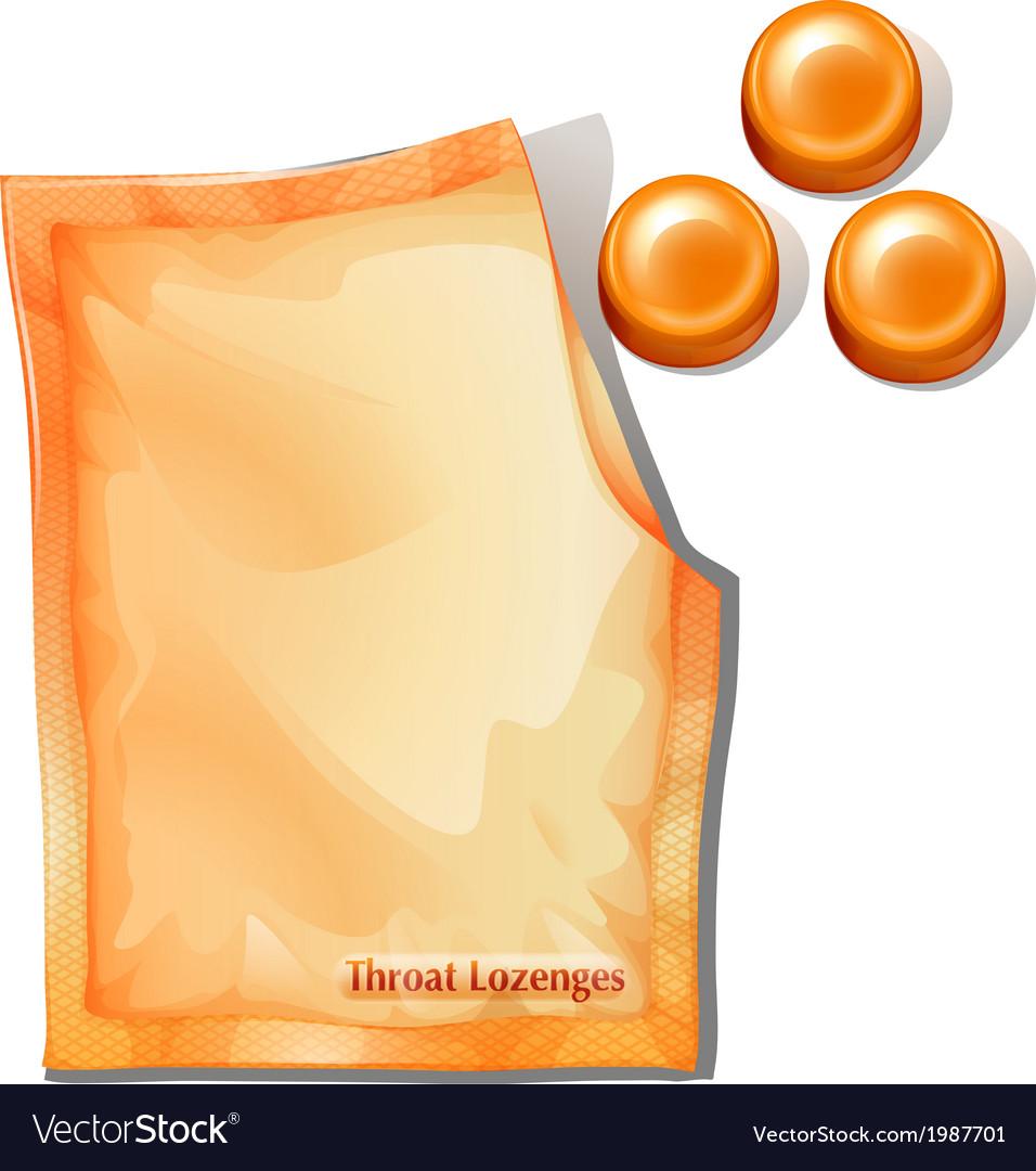 A pack of orange throat lozenges vector image