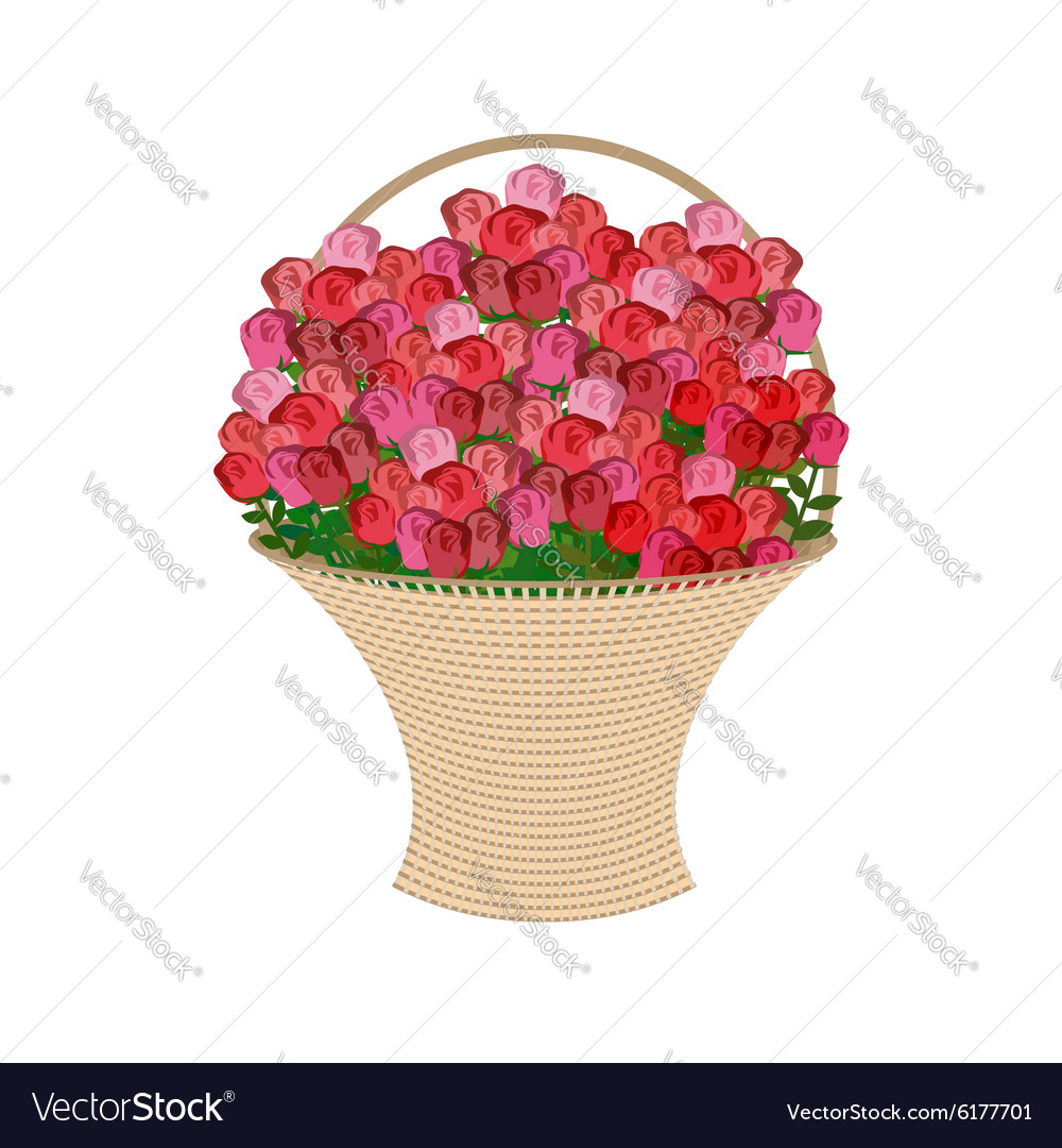 Basket of flowers on a white background Large