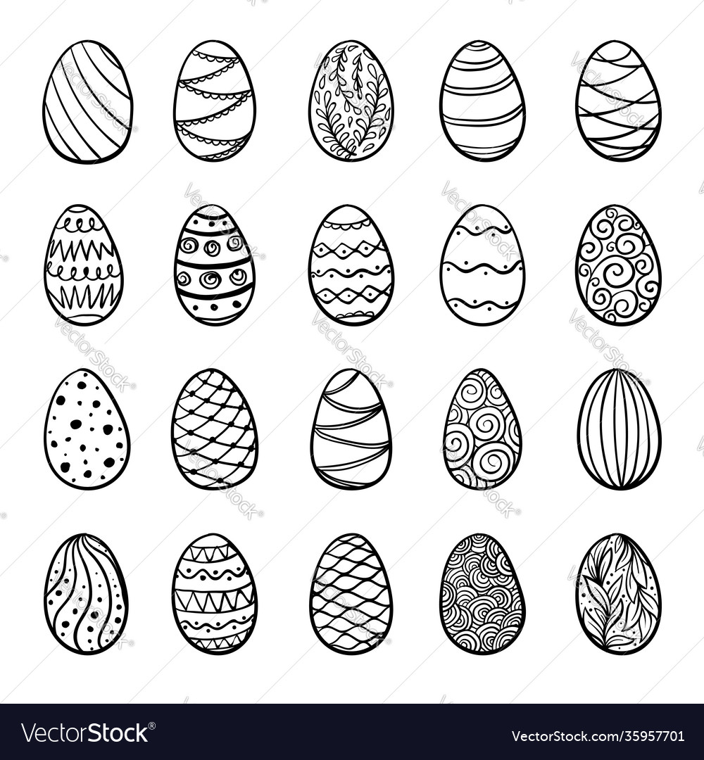 Beautiful set doodle easter eggs isolated