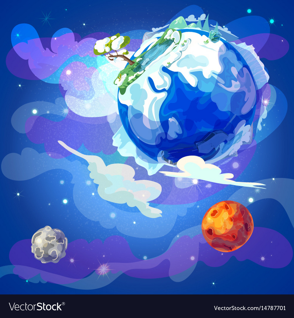 cartoon earth planet in space template royalty free vector