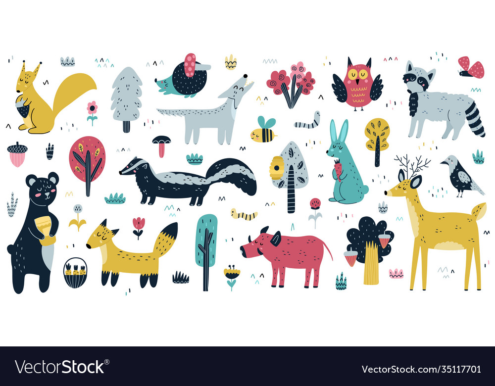 Forest animals big collection cute woodland