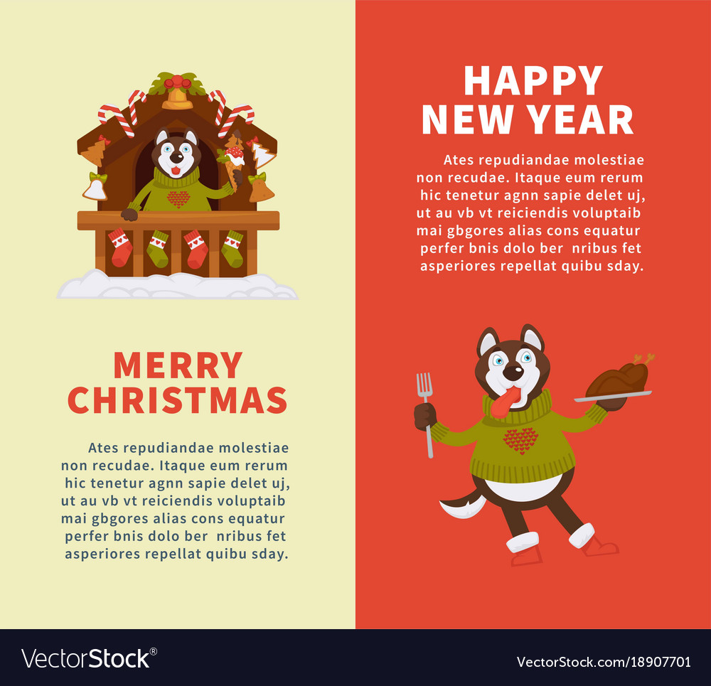 Happy New Year And Merry Christmas Posters With