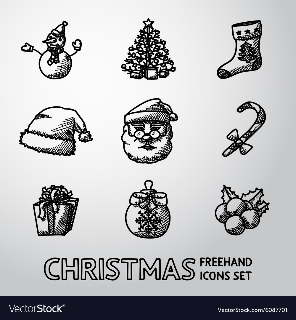 Set of freehand CHRISTMAS icons - snowman tree