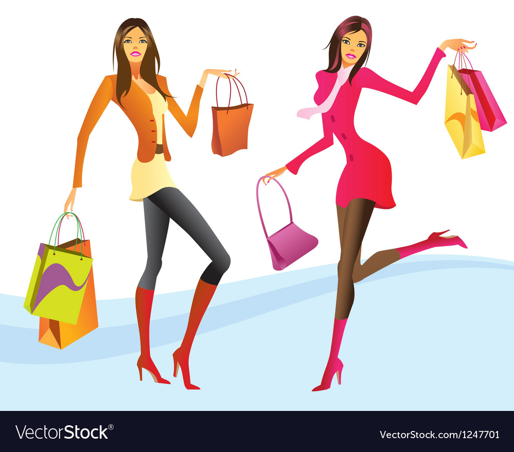 Shopping girls in action