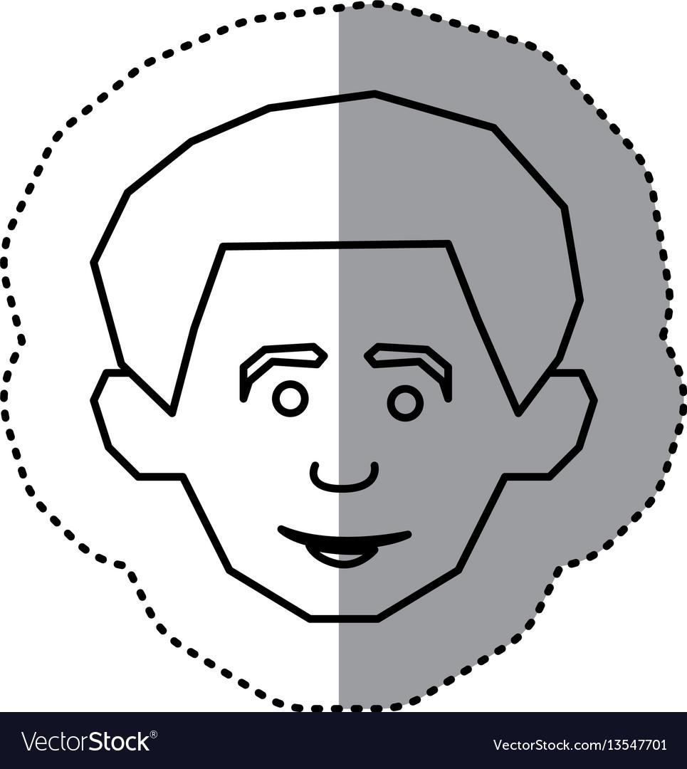 Silhouette face happy man icon