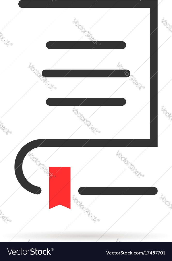 Simple book logo with shadow and bookmark