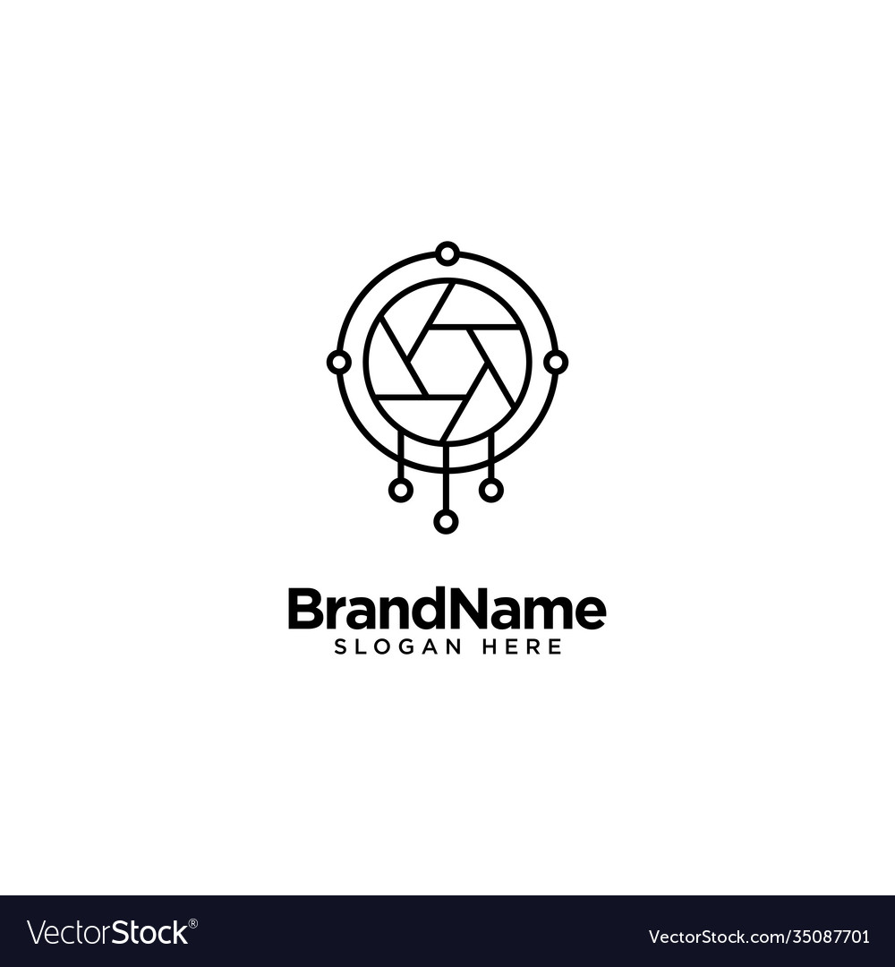 Technology lens and camera logo design with
