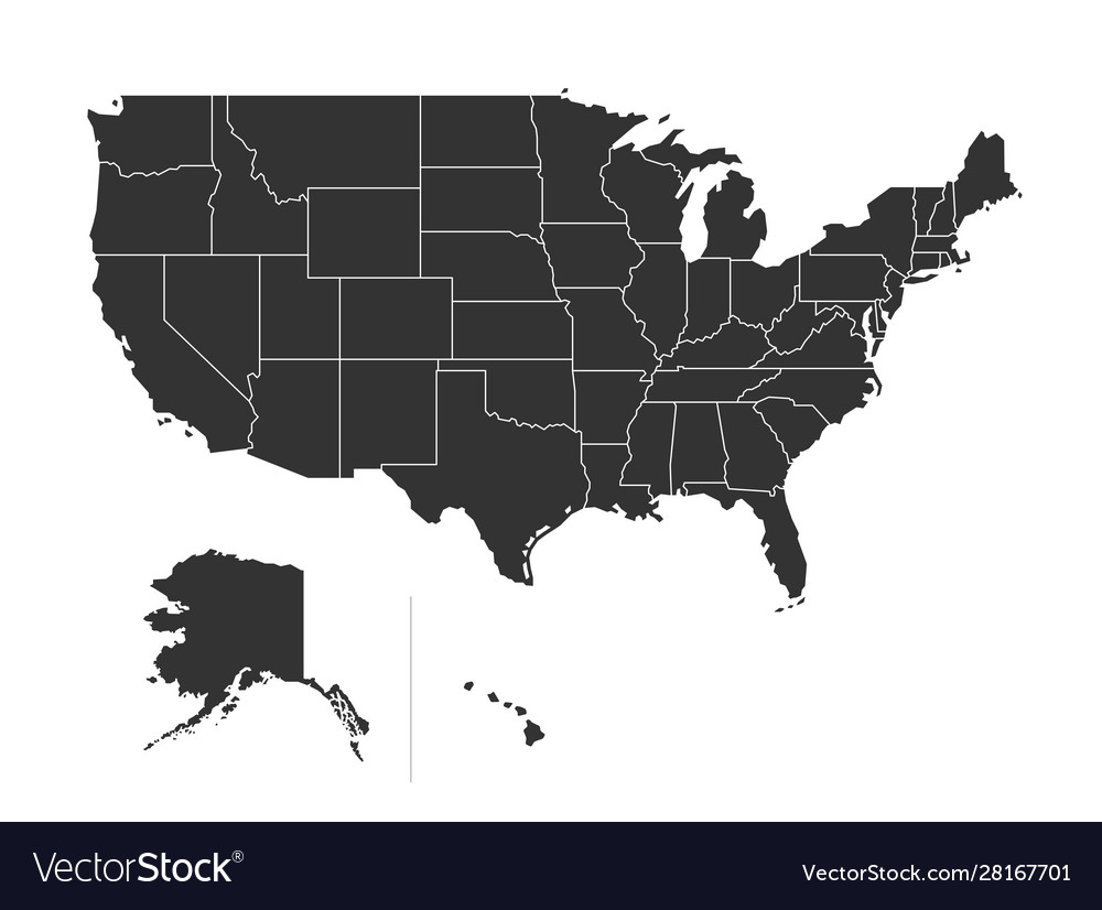 Usa map with states isolated on a white