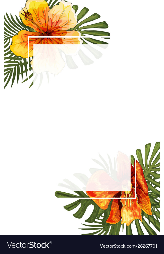 Wedding Invitation Card Floral Jungle Blank Frame