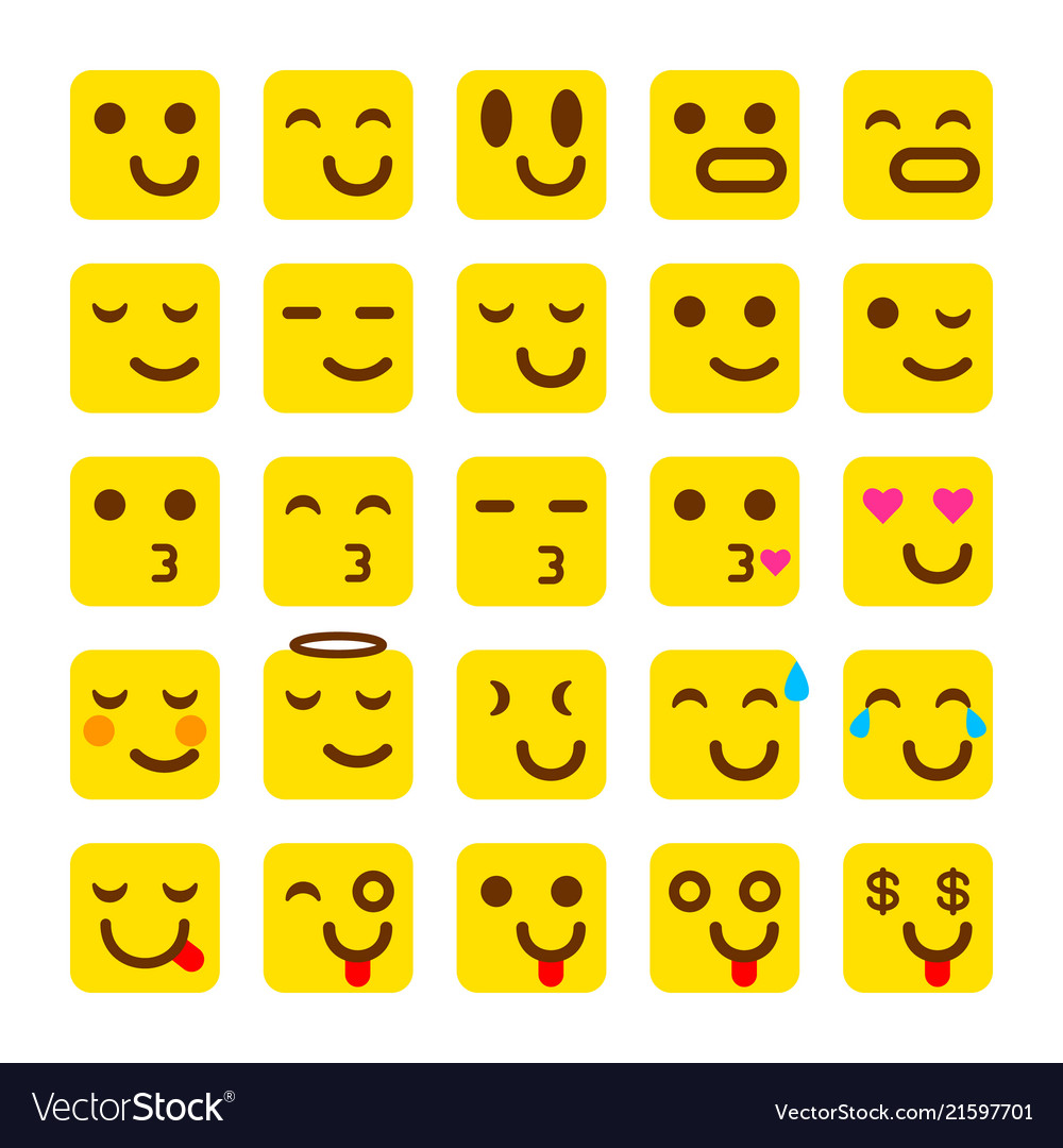Yellow set of smile icons emoji emoticons