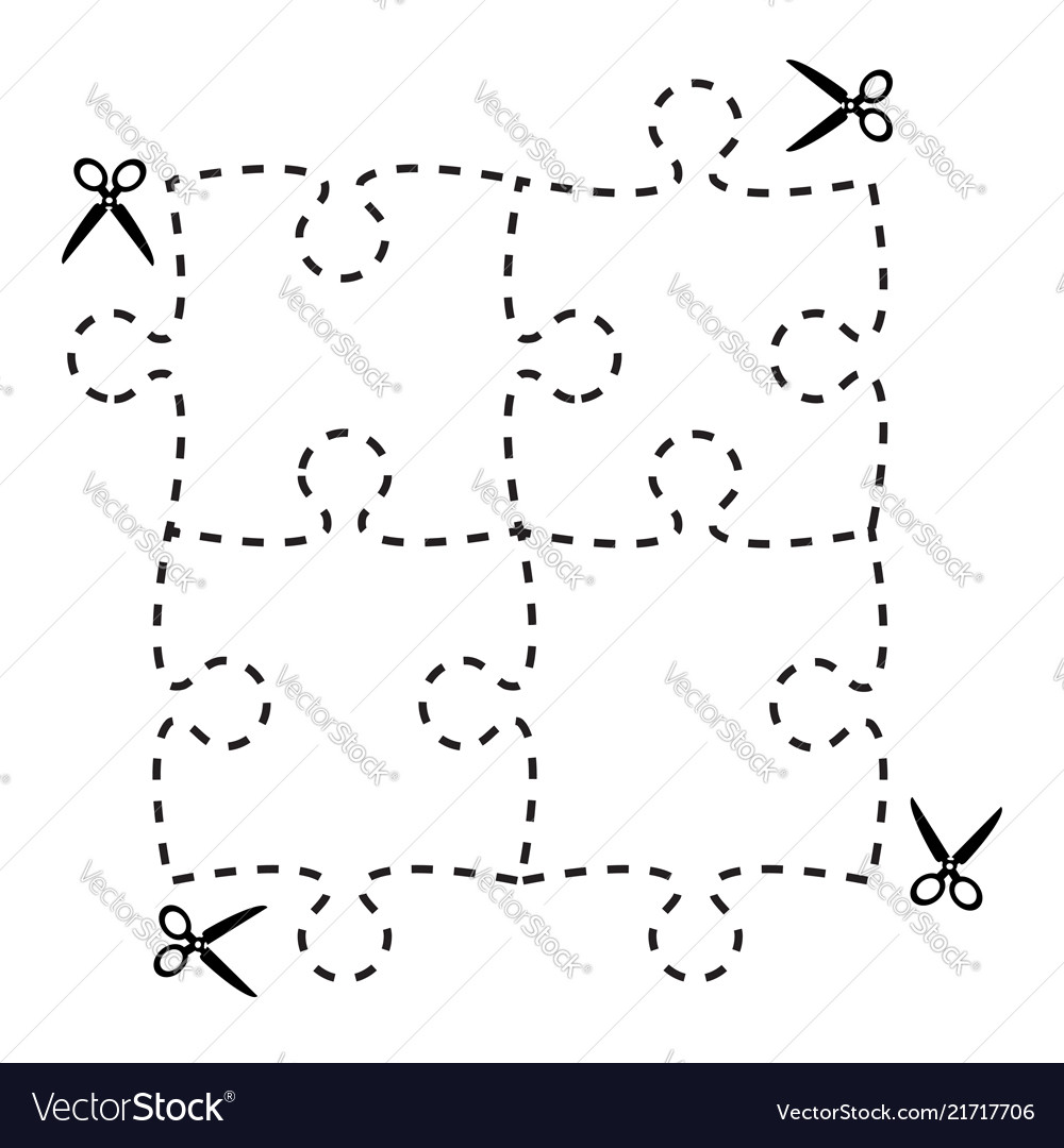 A Cut Out Puzzle Rectangle Shape With Scissors Vector Image