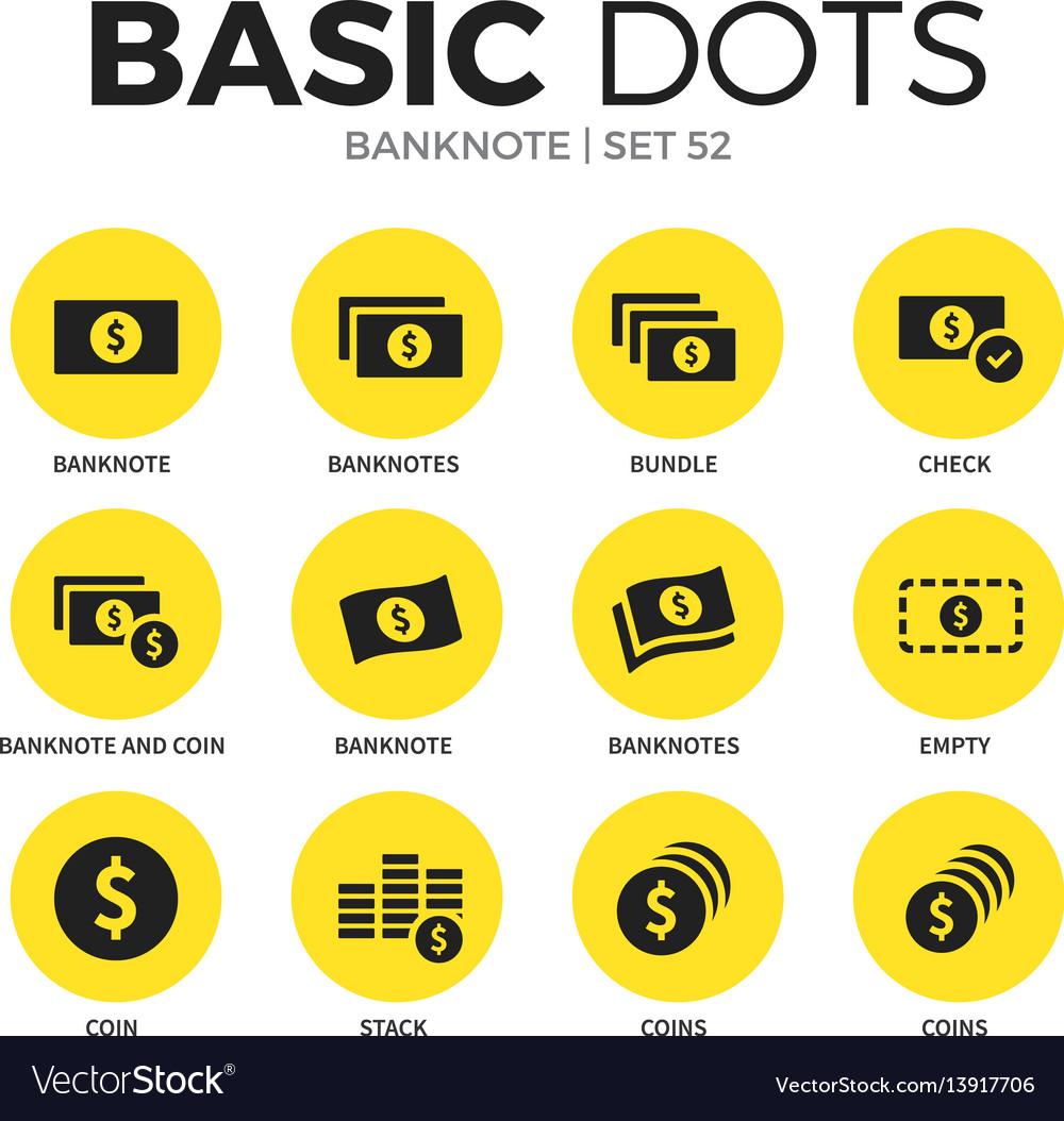 Banknote flat icons set