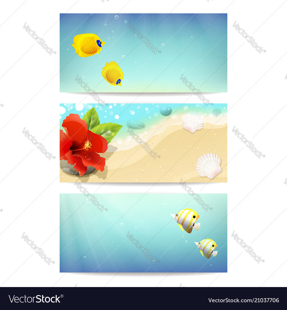 Banners with sea beach coral fishes and hibiscus