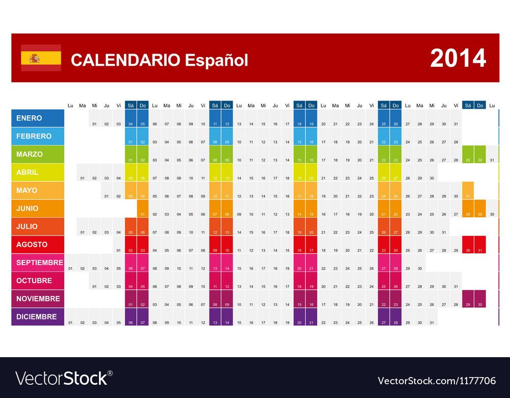 Calendar 2014 Spain Type 14 vector image
