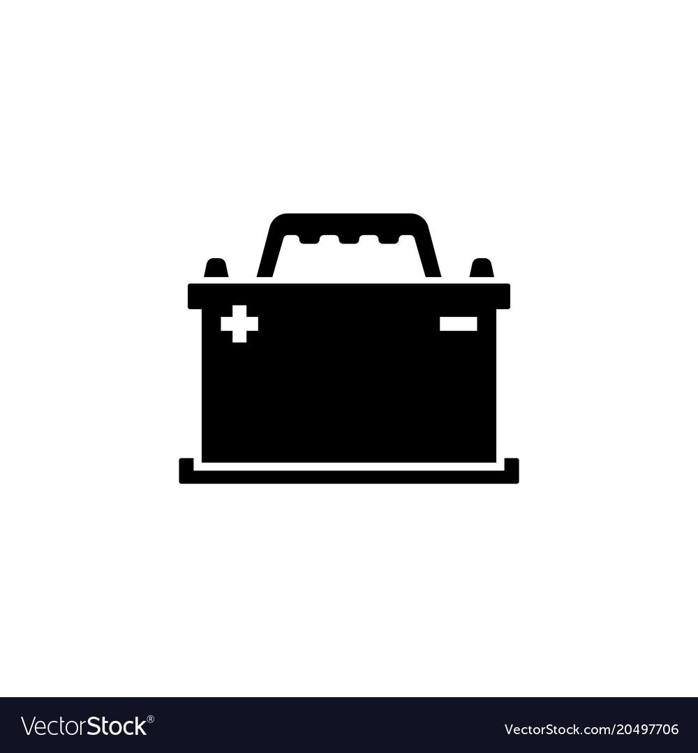 Car battery accumulator battery energy power flat vector image