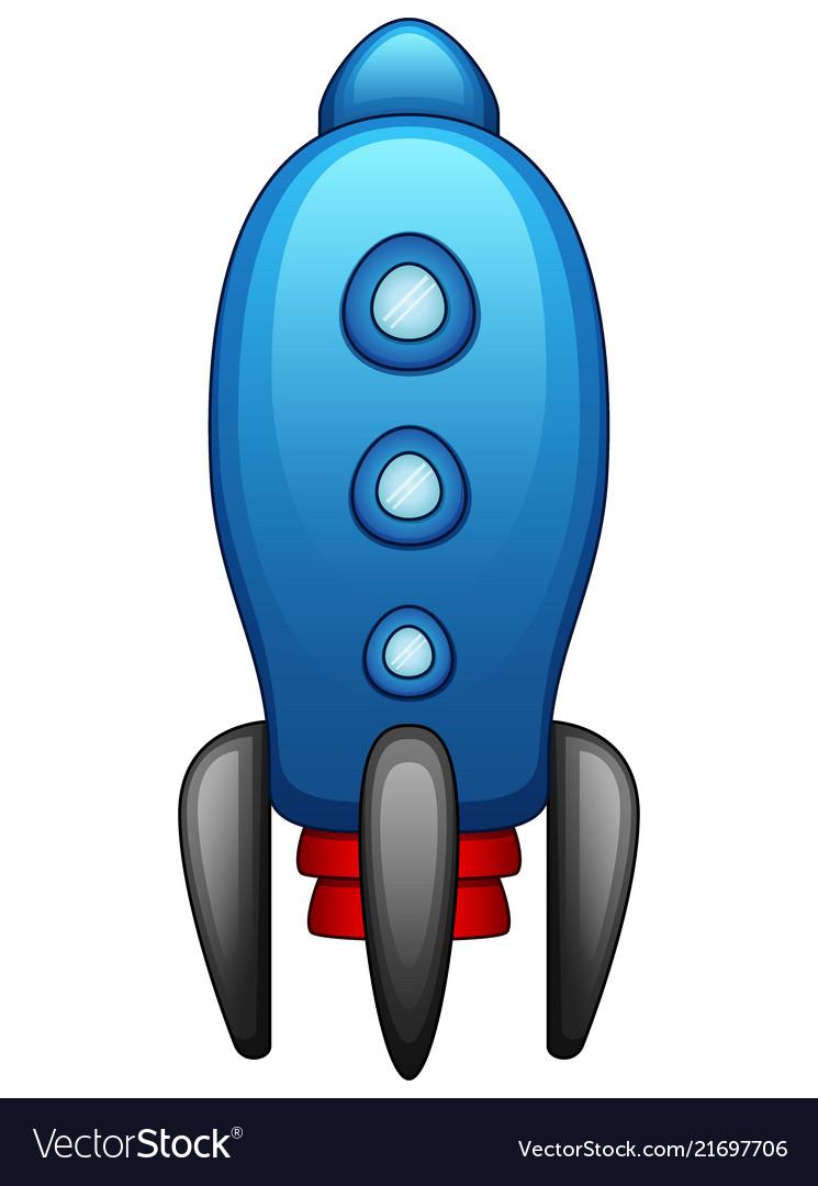 Cartoon blue spaceship isolated on white backgroun