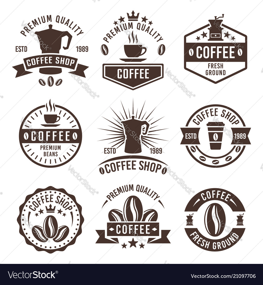 Coffee shop vintage labels badges emblems