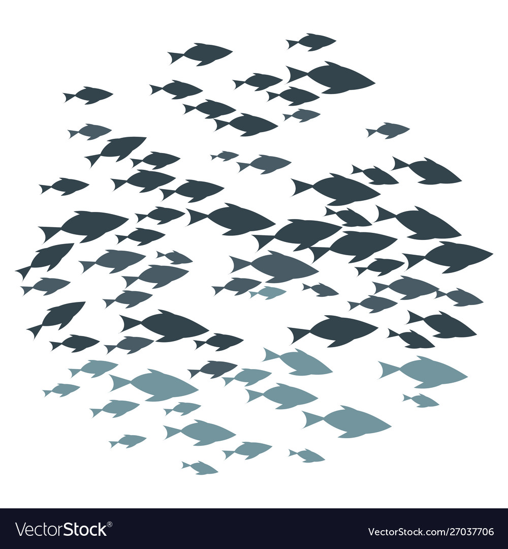 Colored silhouettes groups sea fishes