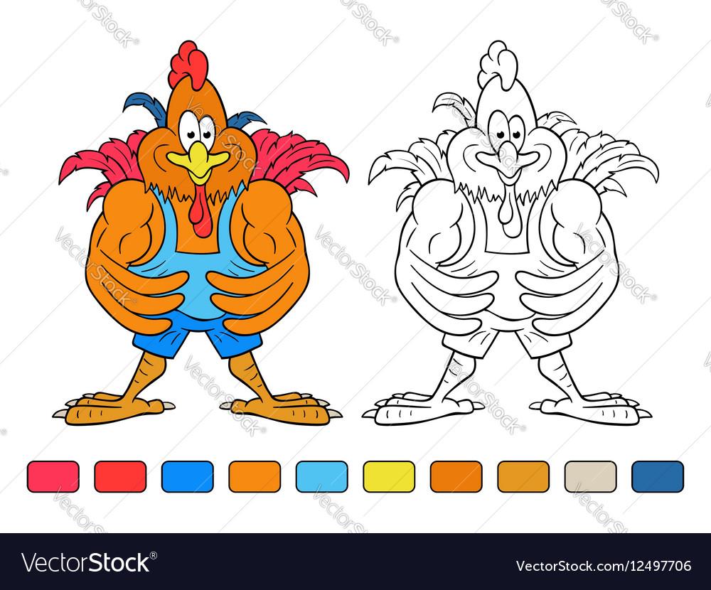 Coloring book cartoon cock bodybuilder