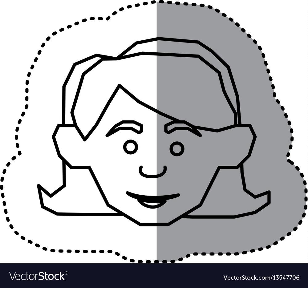 Face happy woman icon vector image