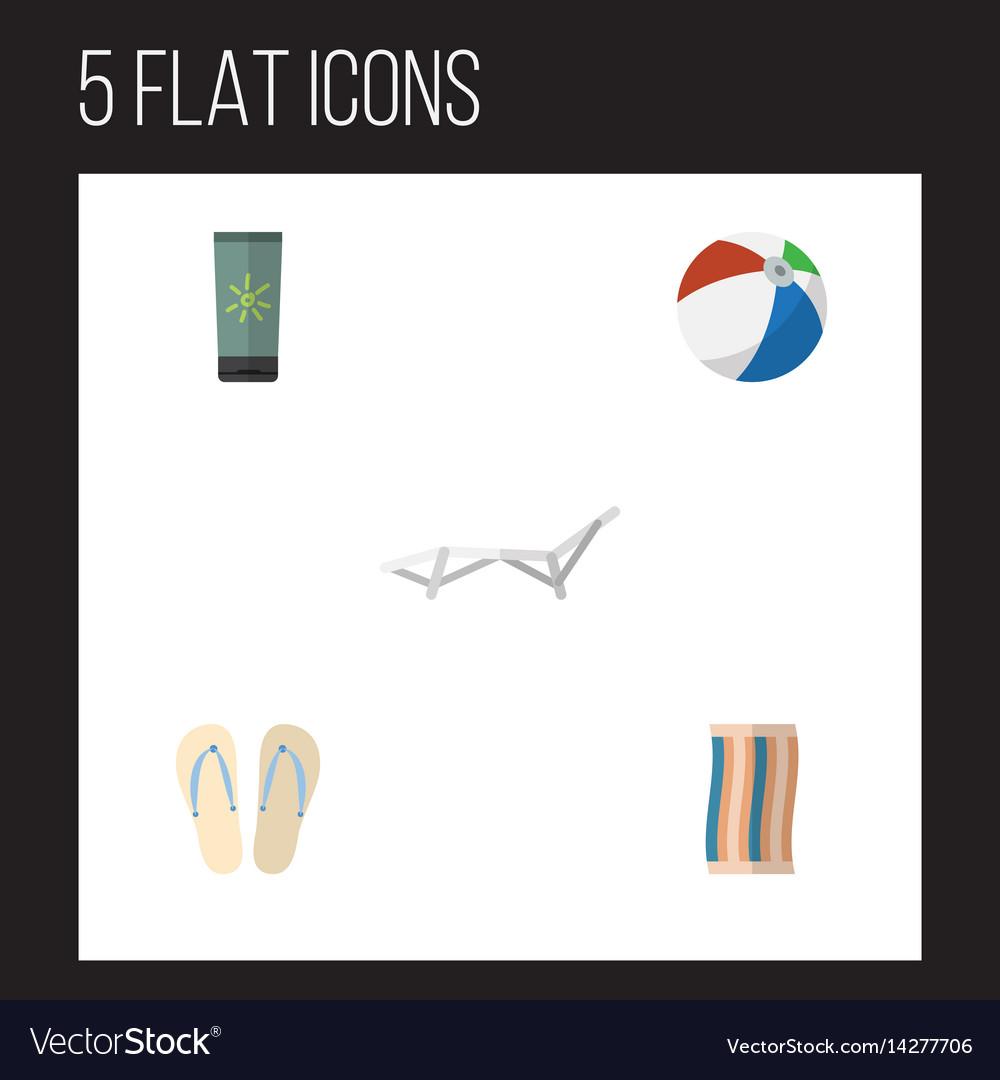 Flat beach set of deck chair wiper beach sandals vector image