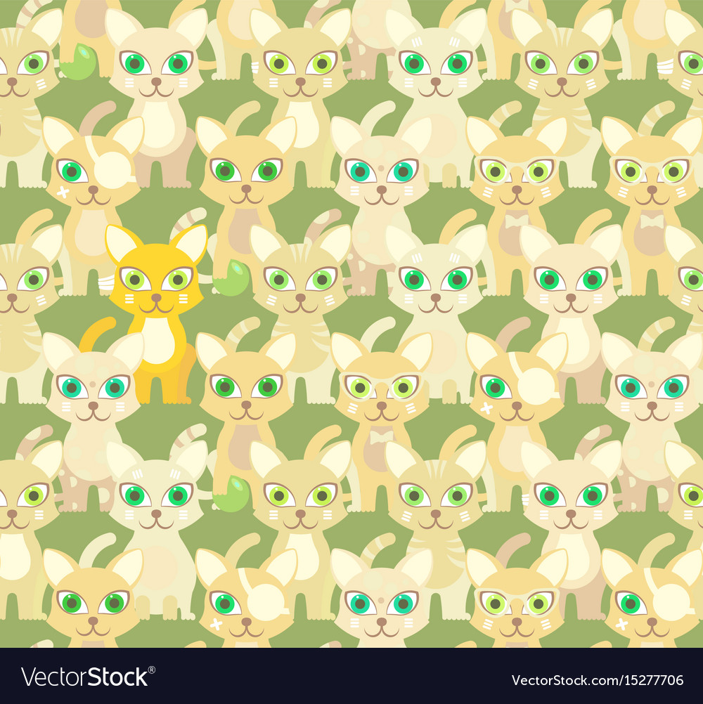 Green seamless pattern with cartoon cats vector image