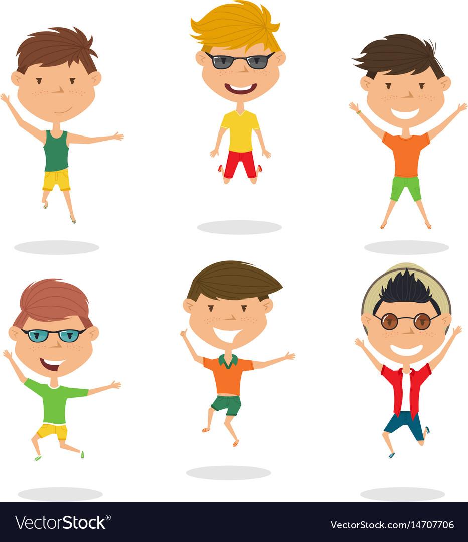 Happy cartoon boys jumping