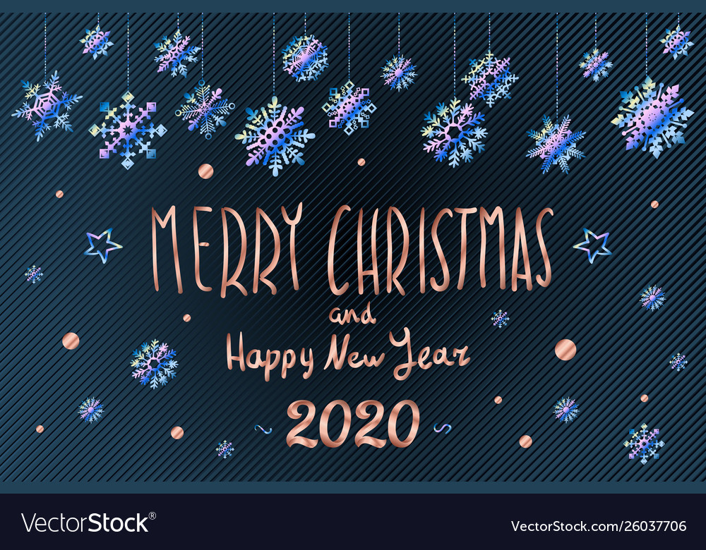 Merry Christmas And Happy 2020 Merry christmas and happy new year 2020 year blue Vector Image