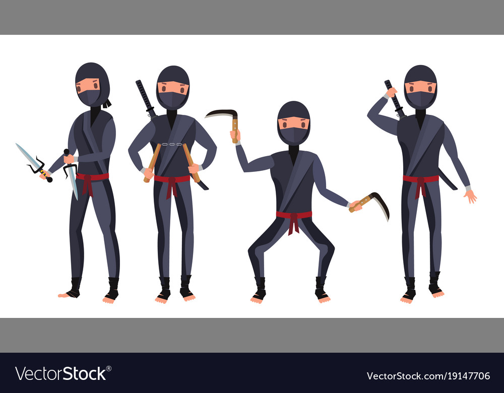 Ninja set samurai characters attacking