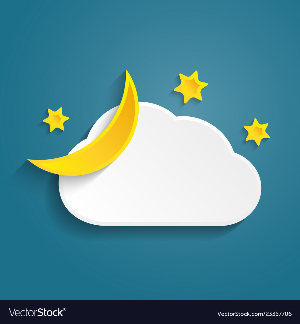 Paper half moon cloud and stars in night