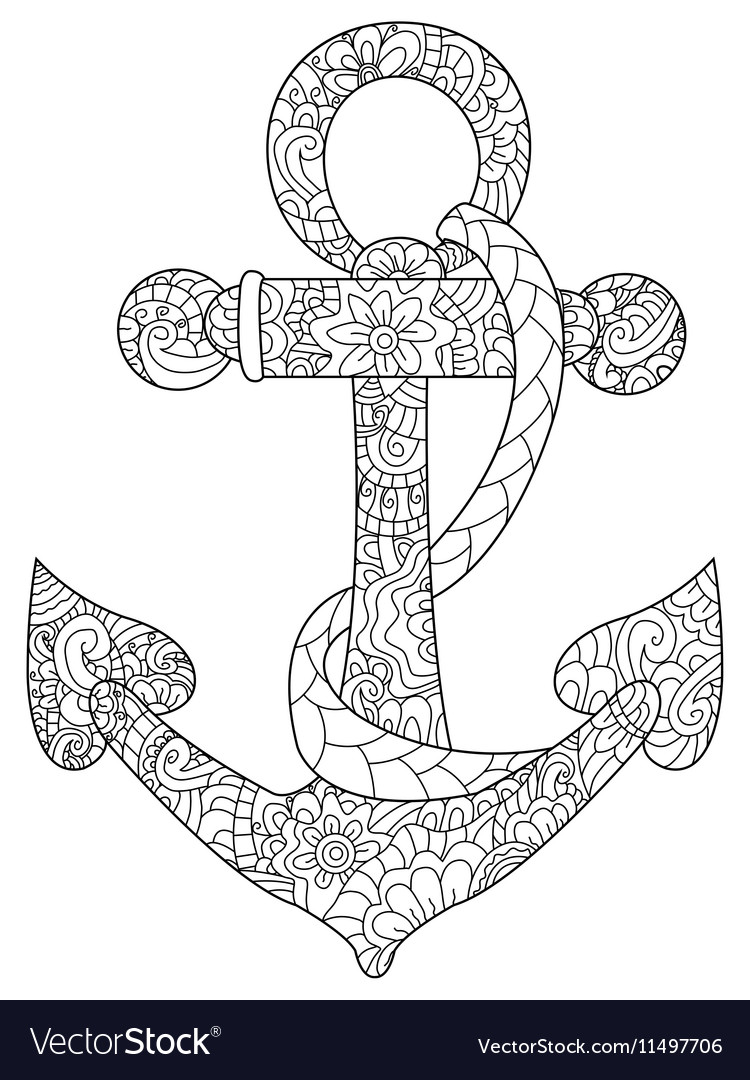 Sea anchor coloring for adults