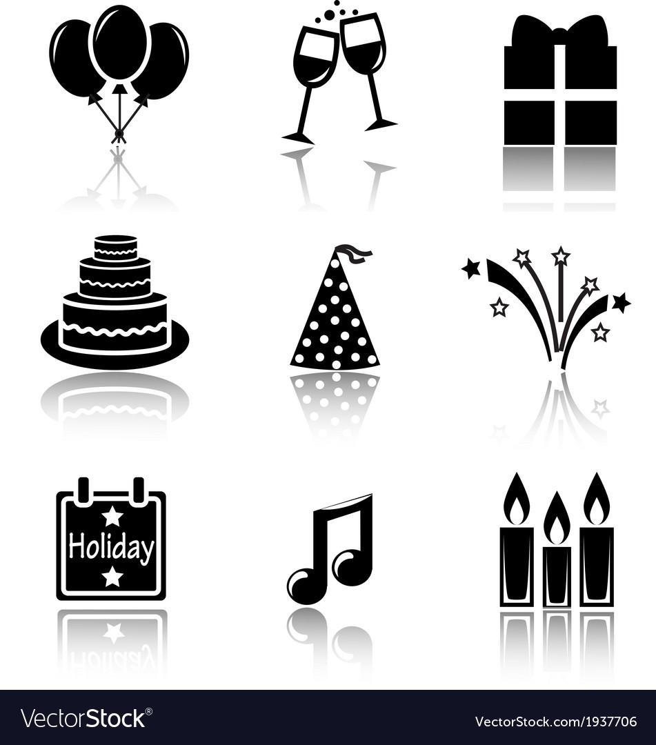 Set of black icons holidays