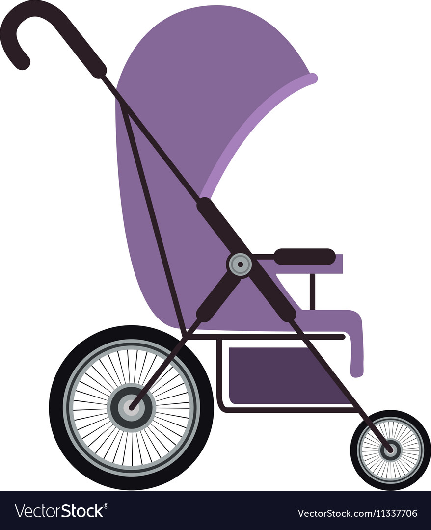 Simple purple baby carriage with layette