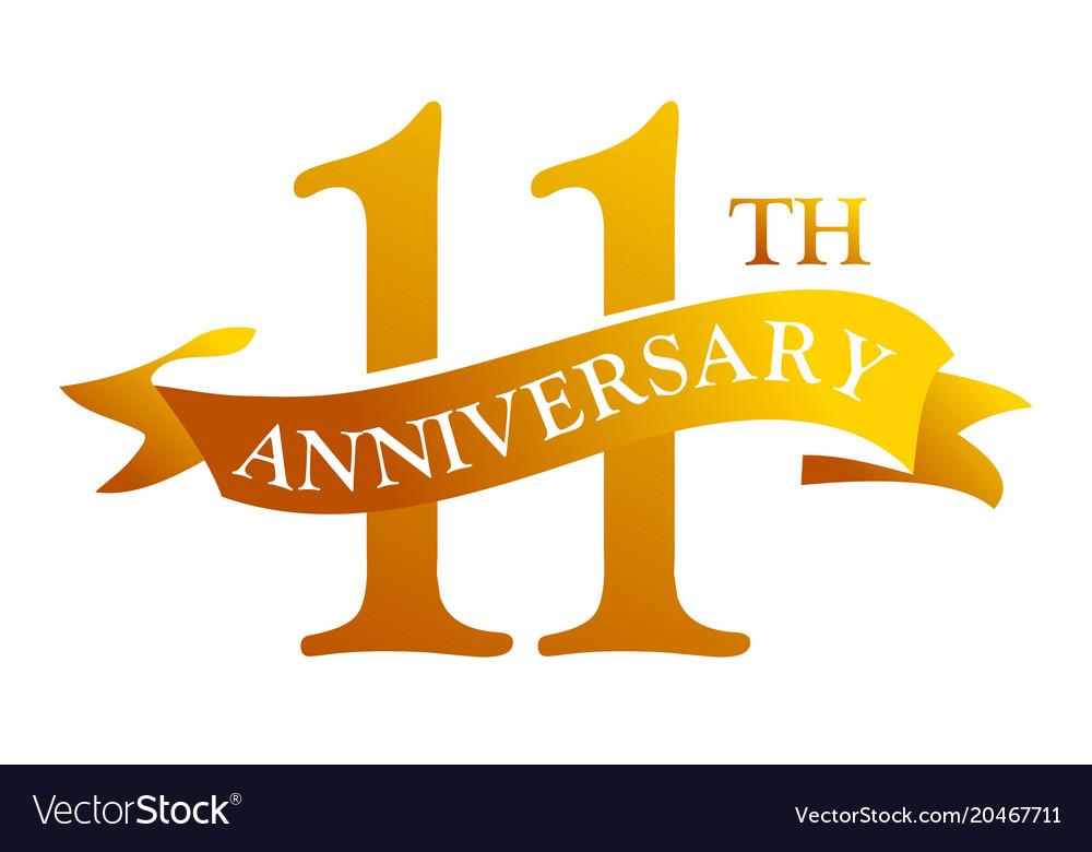 11 Year Ribbon Anniversary Vector Image