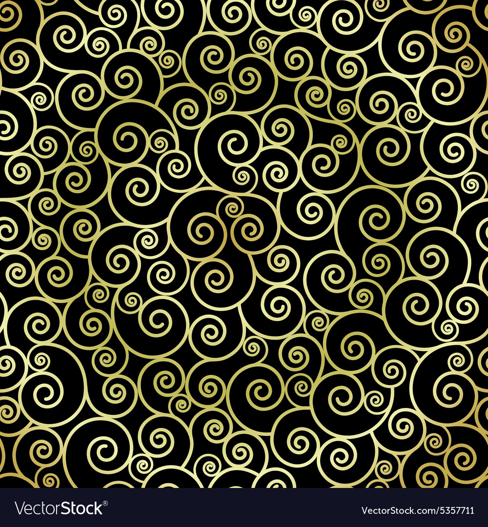 Abstract gold color swirls on black background vector image