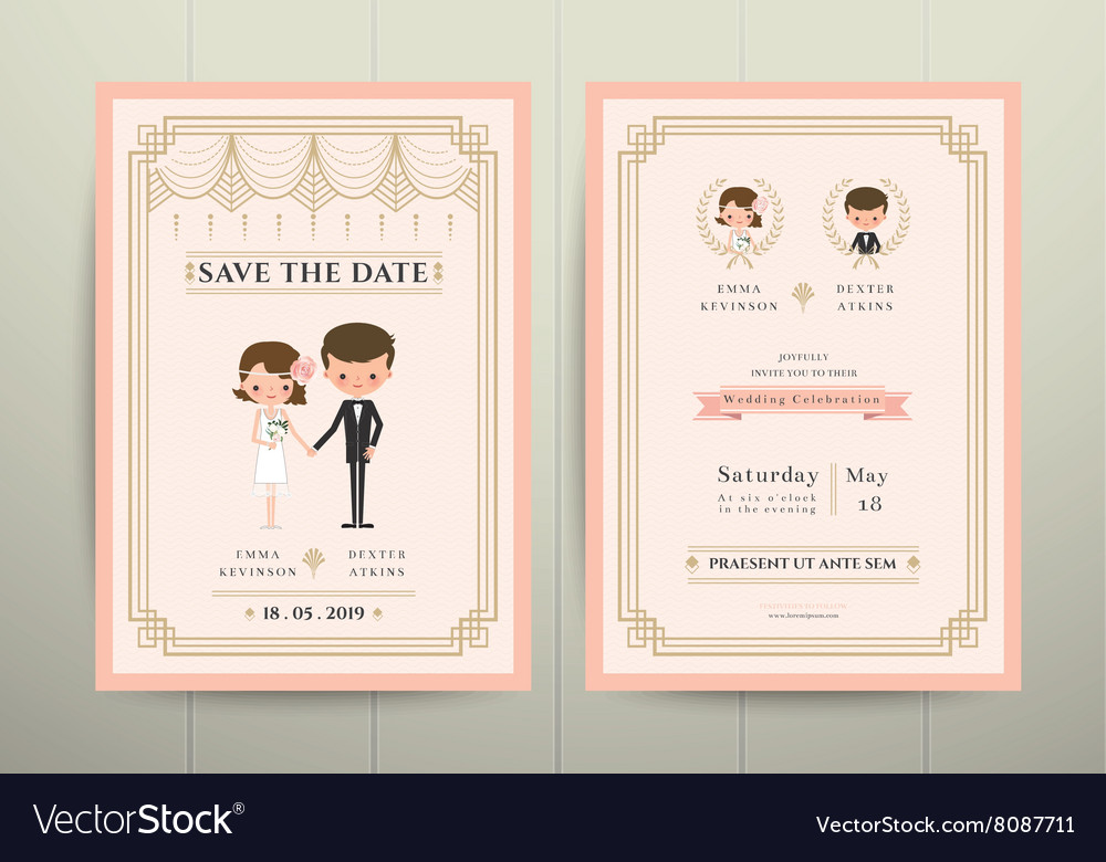 Art Deco Cartoon Couple Wedding Invitation Card Vector Image
