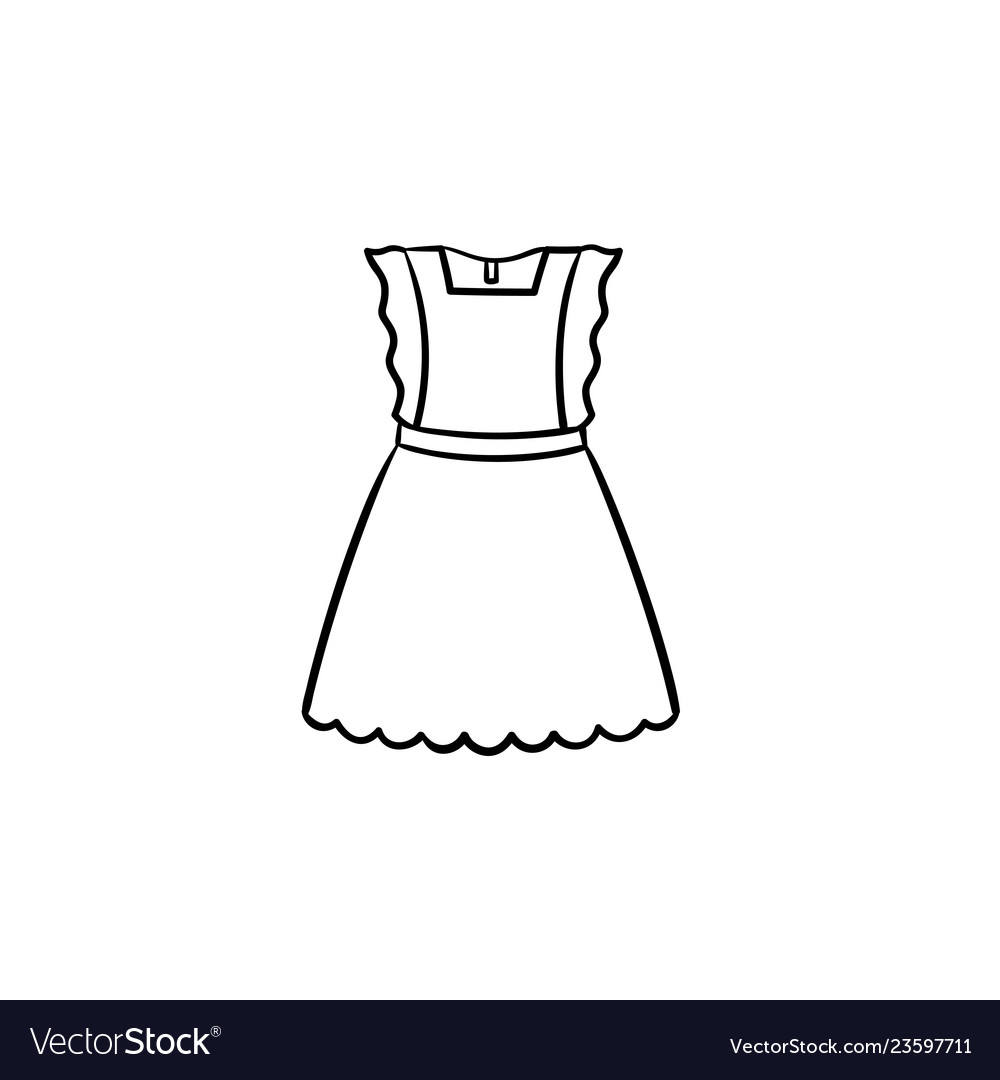 Baby girl little dress hand drawn outline doodle vector image