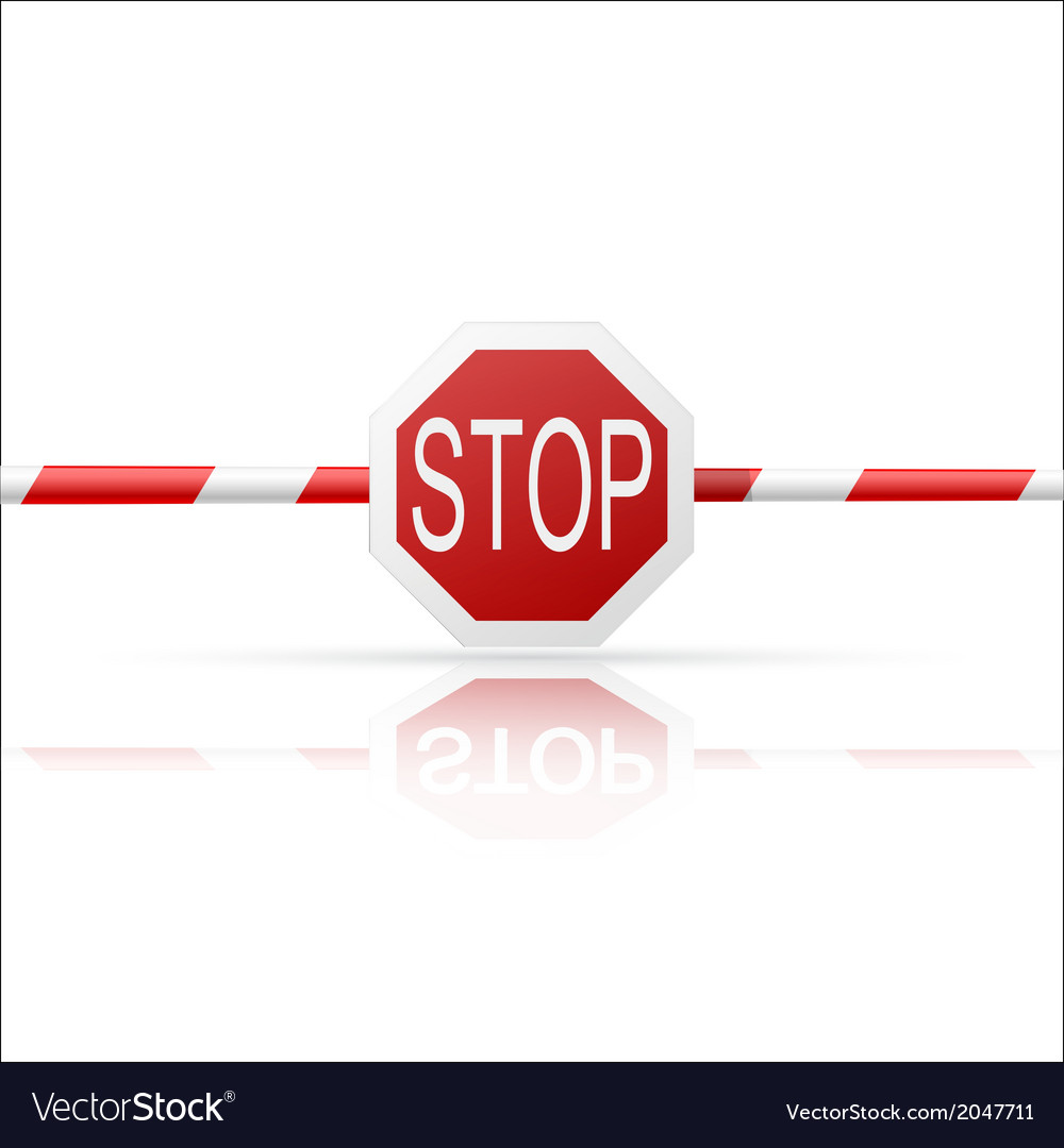 Barrier with a Stop on a white background