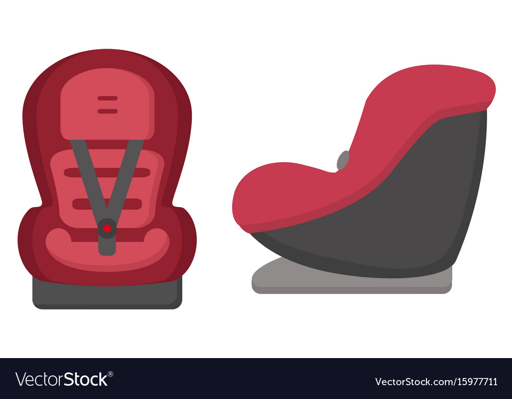 Black and red baby car seat front and side views