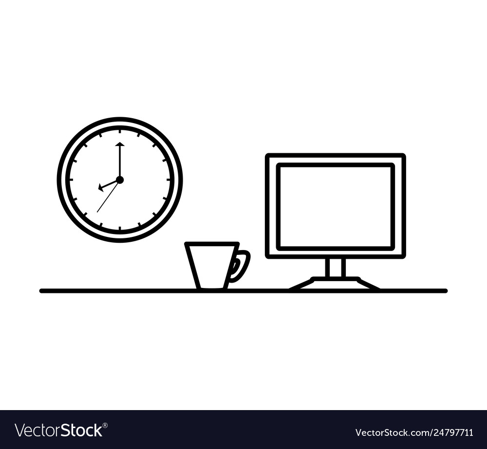 Computer monitor with clock and cup coffee