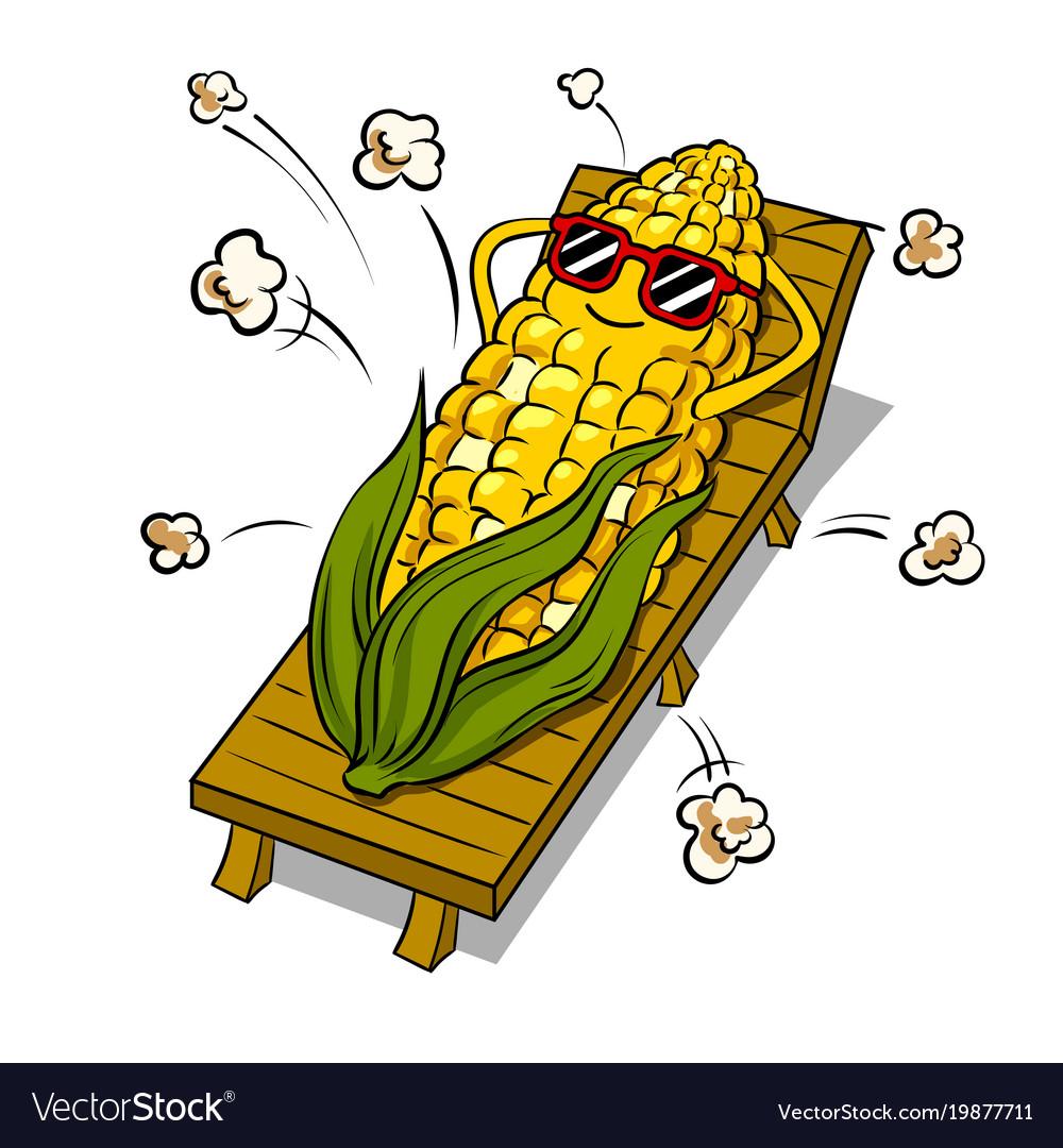 Corn tans on beach pop art