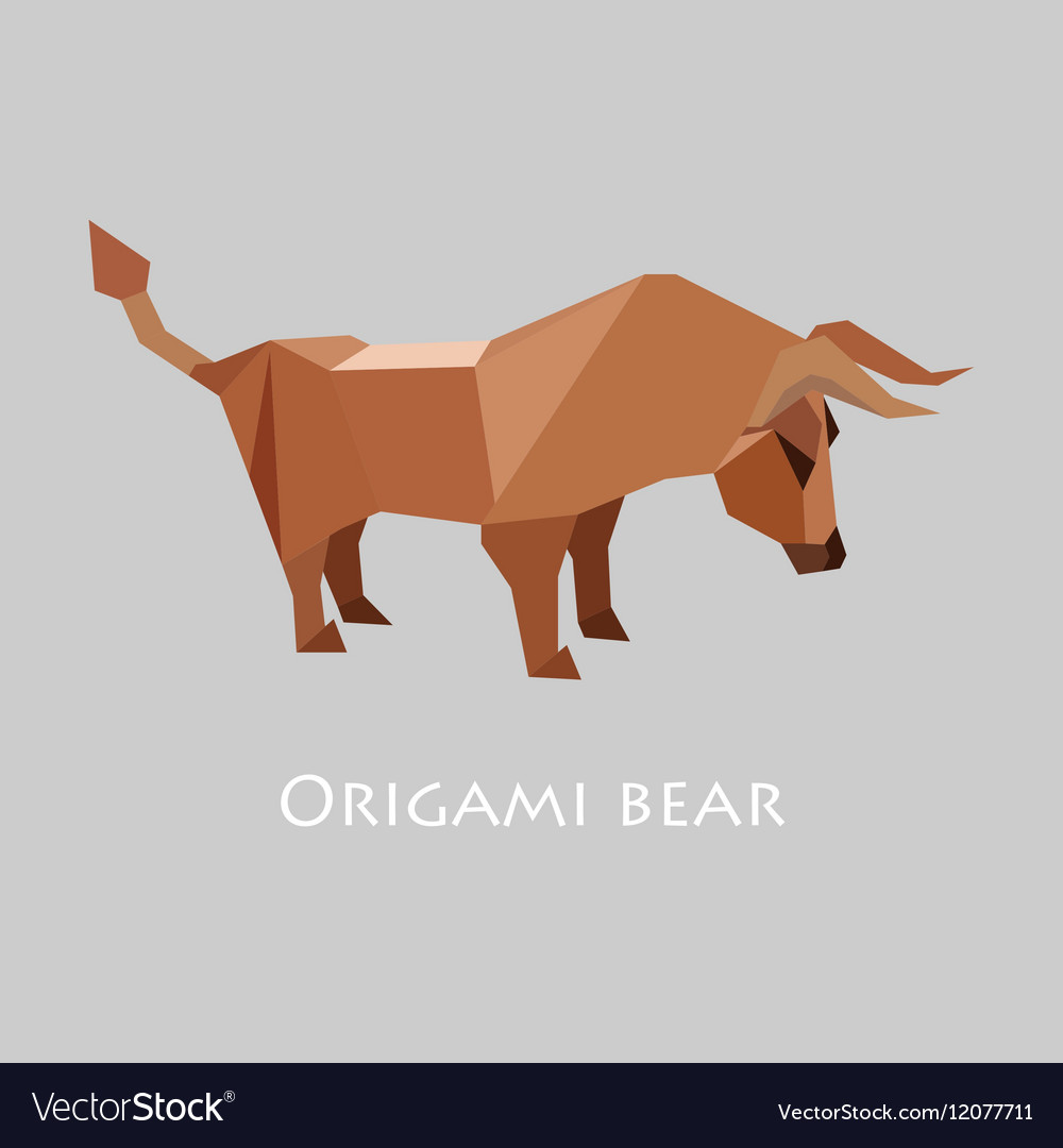 Flat design with origami bull