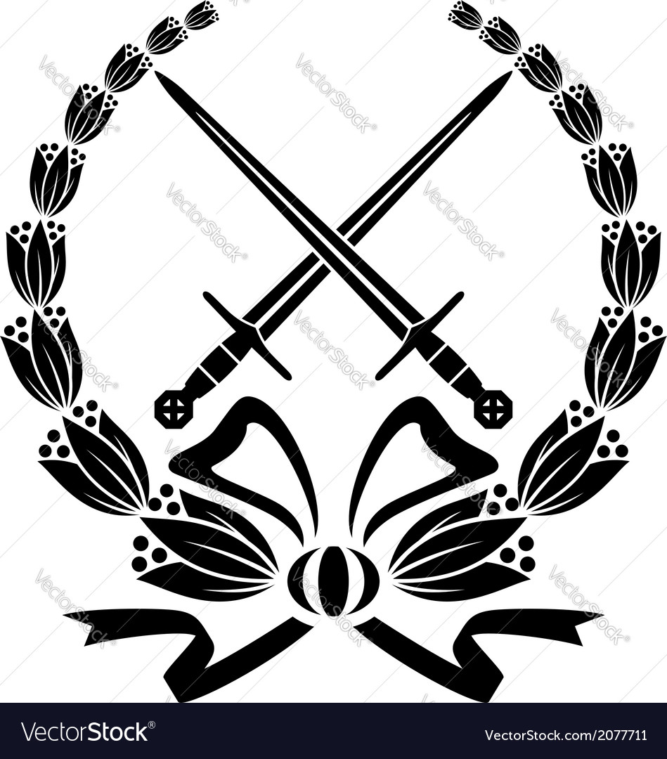 Floral wreath with crossed swords vector image