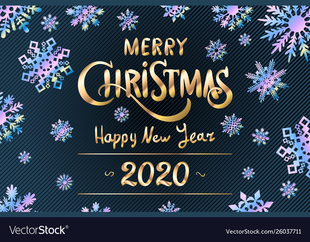 merry christmas and happy new year 2020 lettering vector image vectorstock