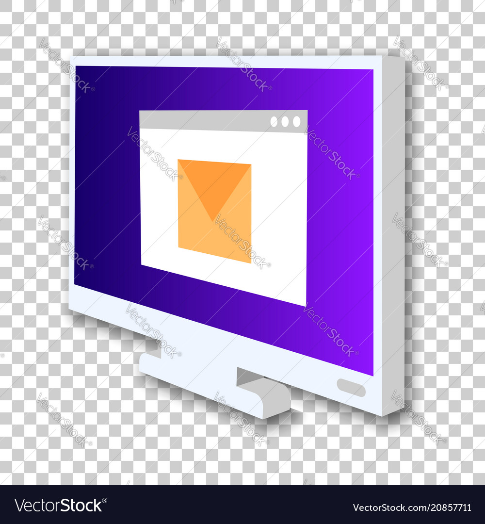 Monitor screen icon in isometric style digital