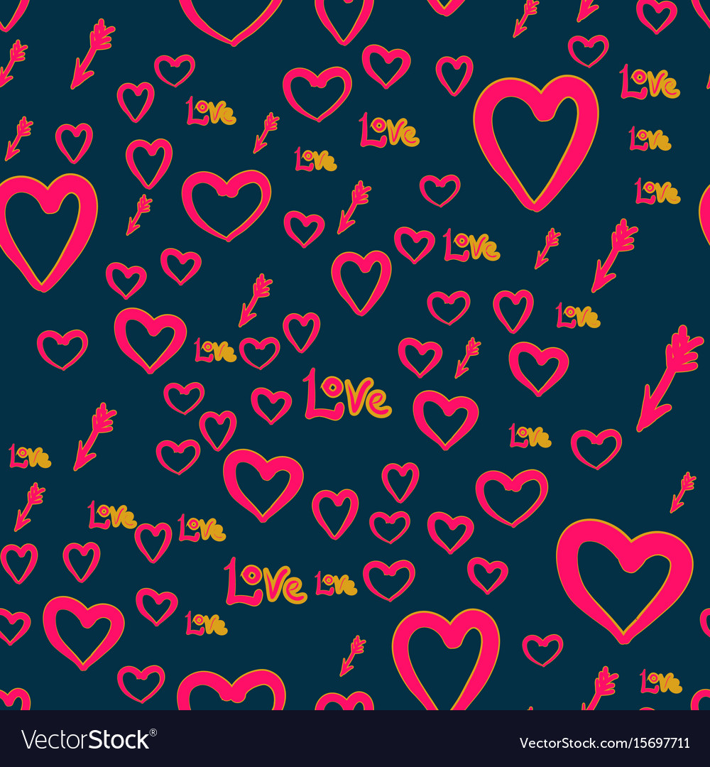 Seamless chaotic pattern with cupid arrows love
