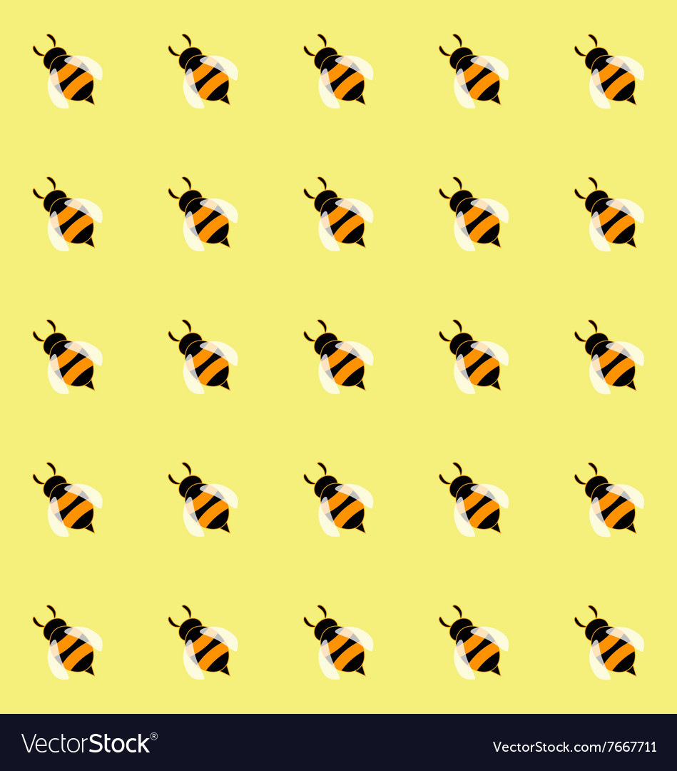 Seamless pattern with cute honey bees