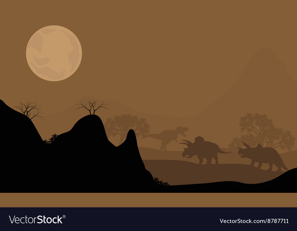Silhouette of triceratops with moon at night